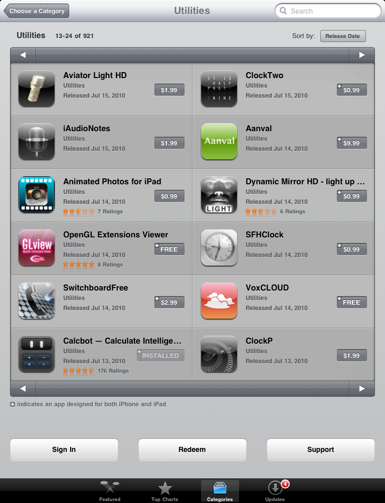 Sorting a category on the iPad by release date, which shows newcomer apps comparable to yours