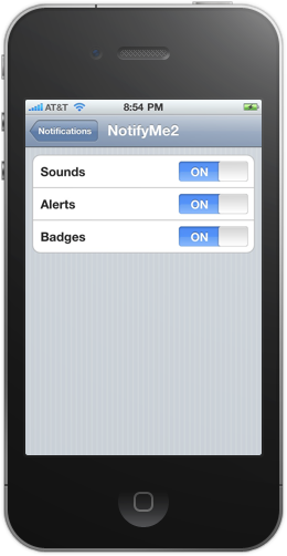 Notification settings in the NotifyMe iPhone app