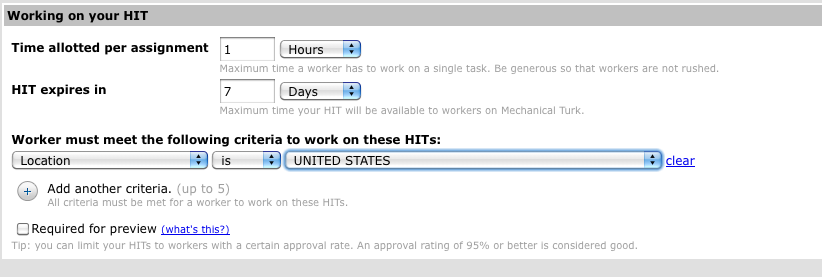 Location criterion in Mechanical Turk task creation