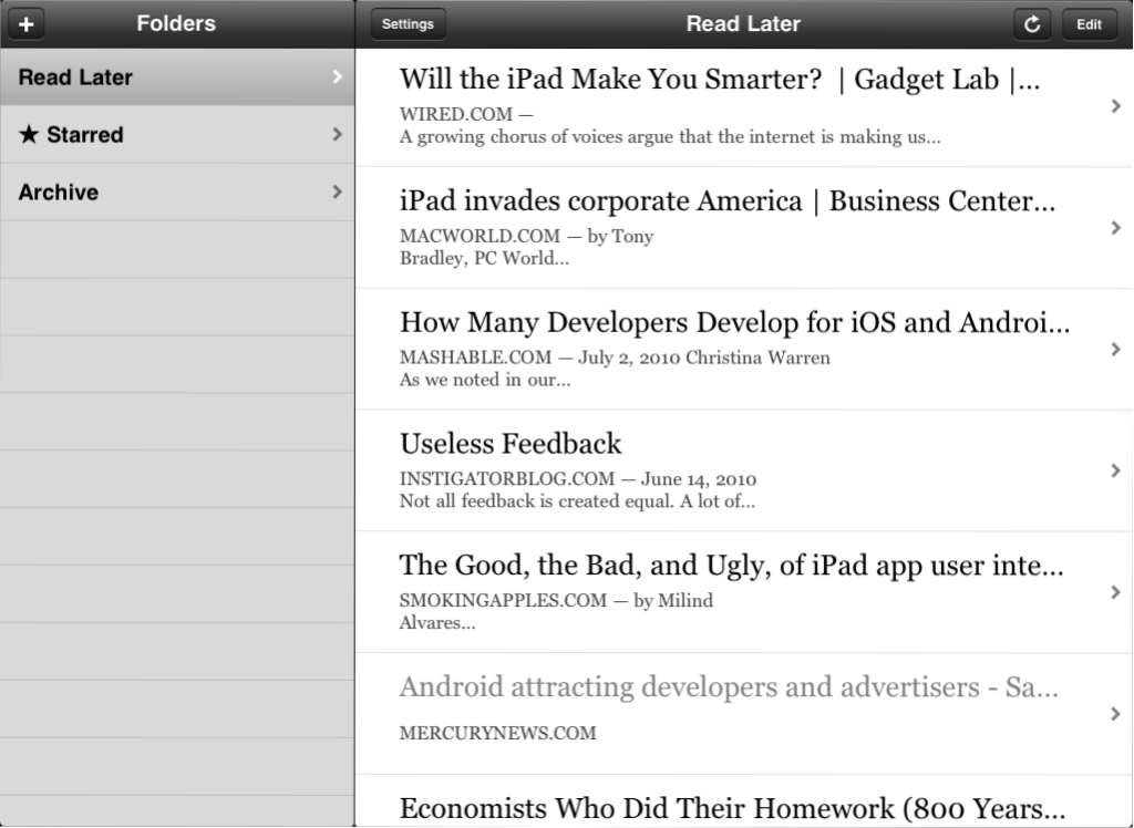"""The """"split view"""" in use for the iPad version of Instapaper"""