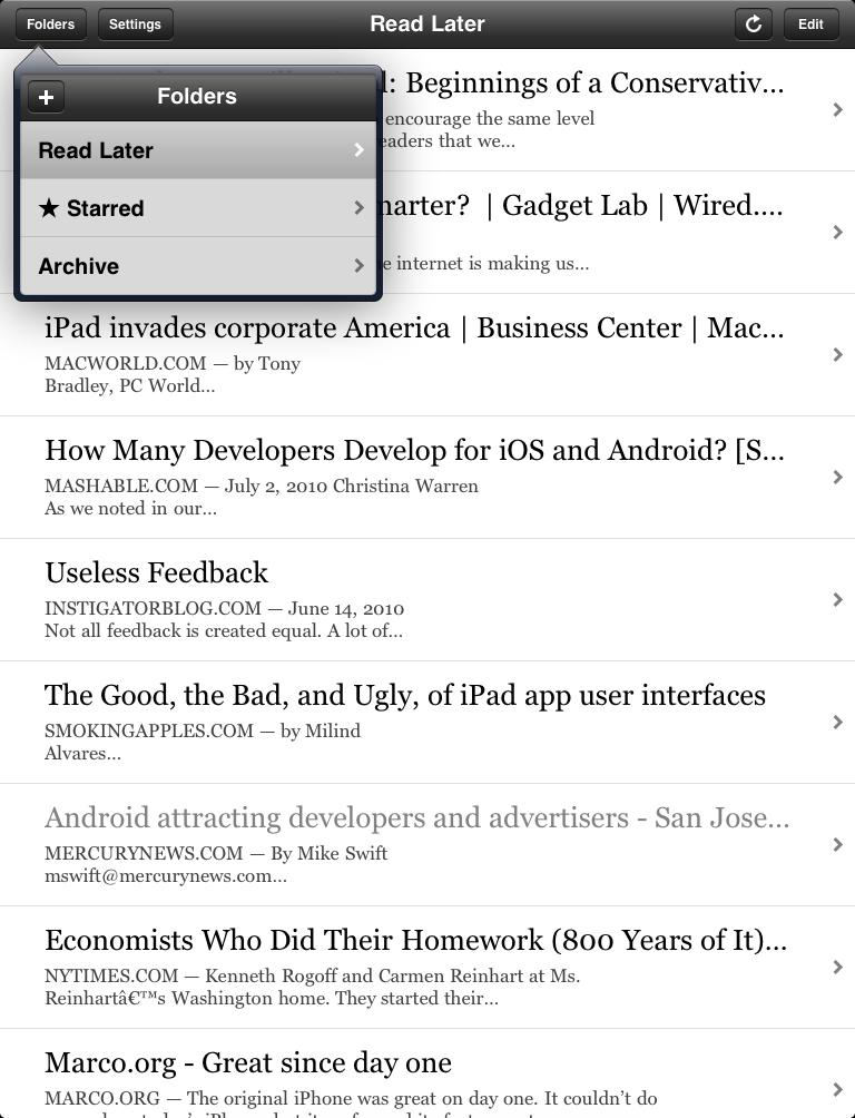 The list of folders for Instapaper in a popover view