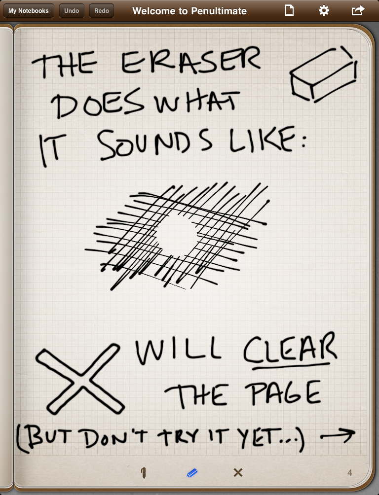 Penultimate's explanation of the eraser function in the first notebook