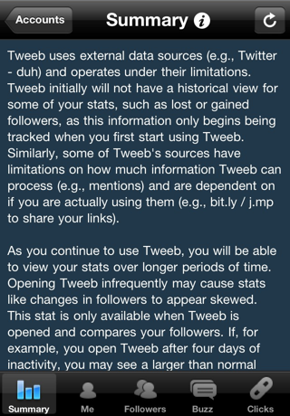 """The Tweeb information button—the """"i"""" shown here—which, when tapped, reveals help text that is specific for each screen"""