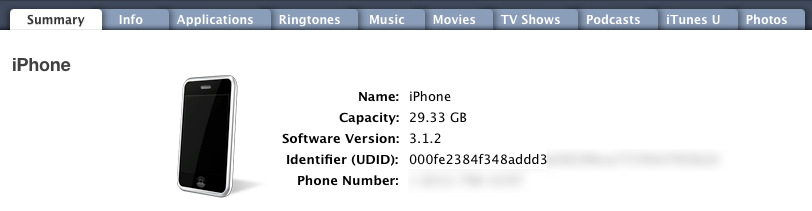 UDID in iTunes