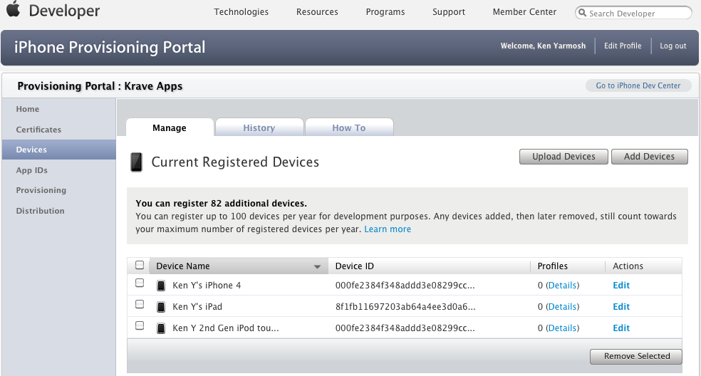 The Devices section in the iOS Provisioning Portal; notice the Profiles column shows 0