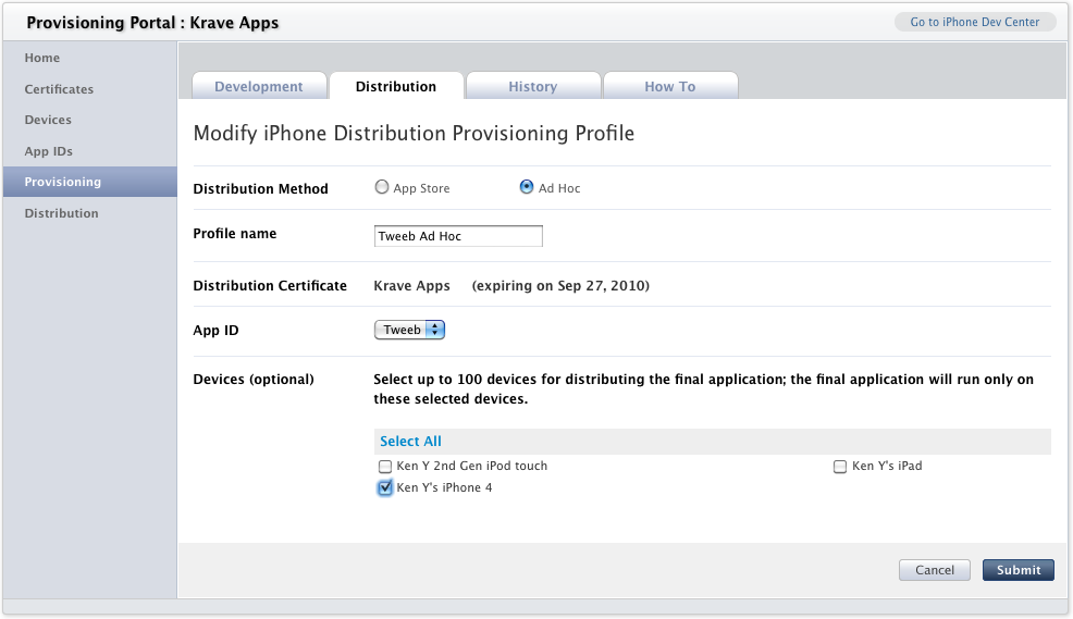 The Modify iPhone Distribution Provisioning Profile page