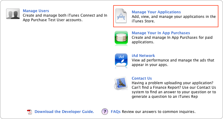 Clicking the Manage Your Applications link in iTunes Connect to begin the application submission process