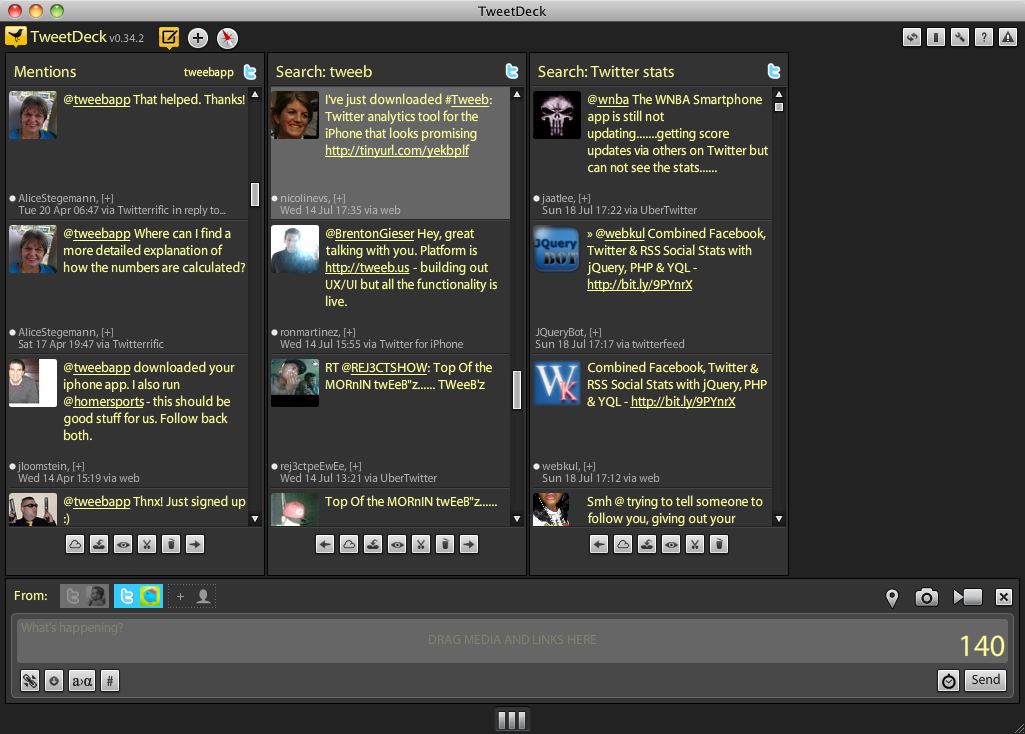TweetDeck's columns, which allow you to see much more information at once