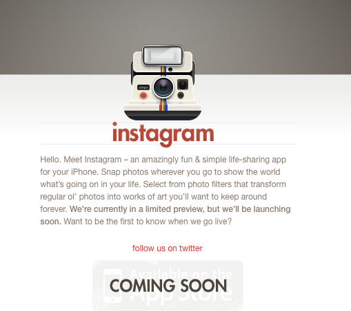 Instagram splash page
