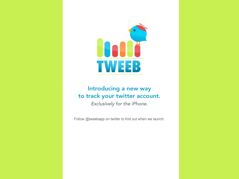 Tweeb splash page with no email sign-up form