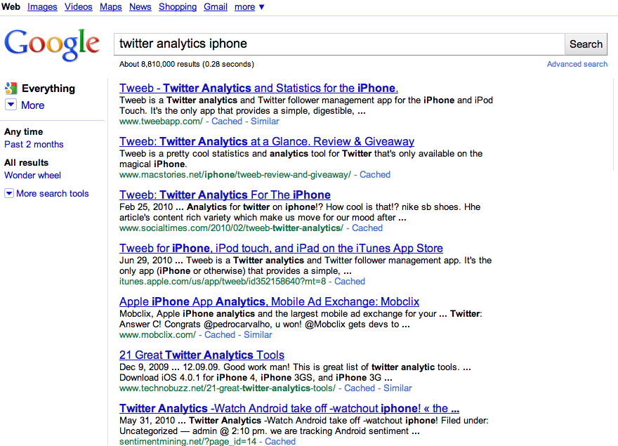 Tweeb ranking highly in Google Search results due to the keywords associated with the site