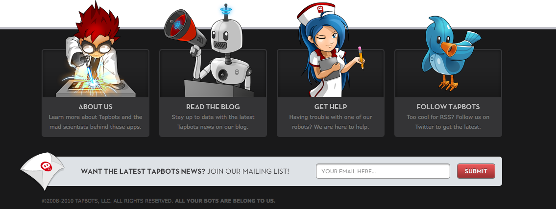 Tapbots' clever integration of the email sign-up form at the bottom of the site