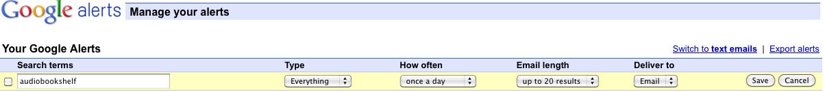 A very basic Google Alert for AudioBookShelf