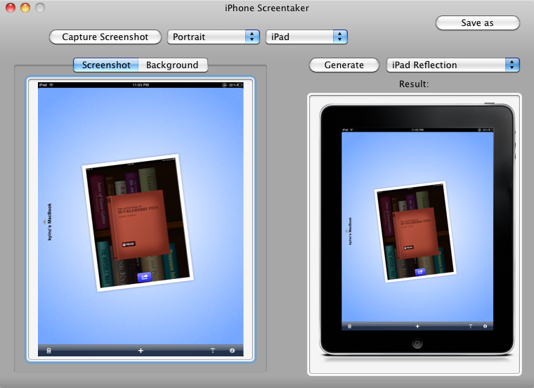 iPhone Screentaker – Creating a screenshot in an iPad