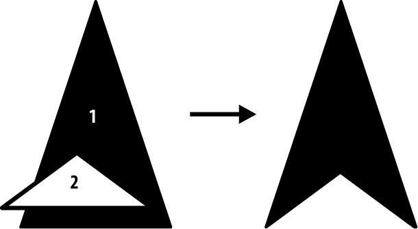 Arrow shape composed from two triangles