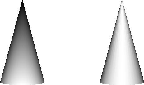 Left: Cone with triangle fan. Right: Cone with triangle strip