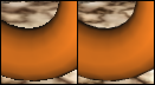 Left: normal rendering; right: 2× supersampling