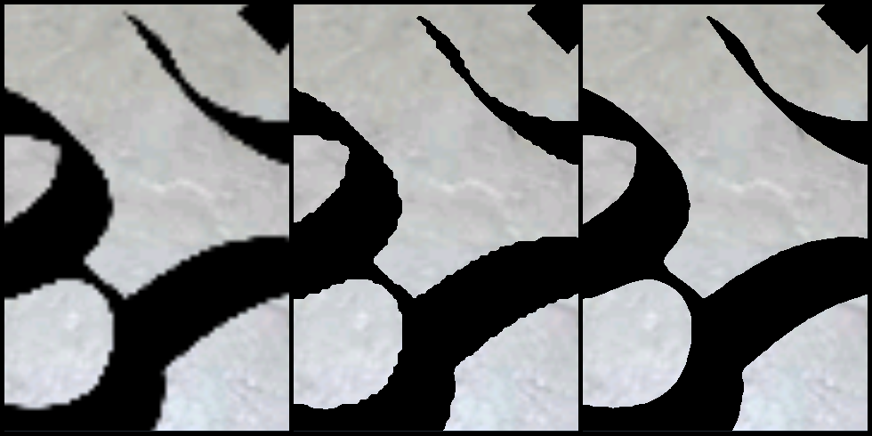 Left to right: alpha blending, alpha testing, and alpha testing with distance field