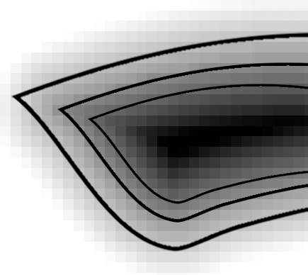 Distance field with edge0 (inner line) and edge1 (outer line)