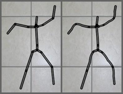 Unskinned versus skinned stick figure