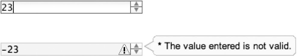 Left: a NumberSpinner dijit changing its value via keyboard or mouse control; right: the default display when manual keyboard entry enters a value that is out of bounds