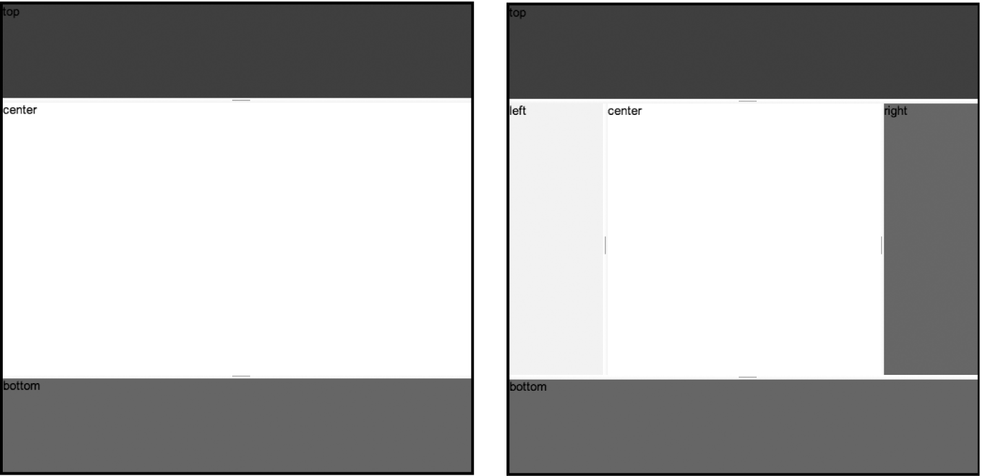 Left: the BorderContainer before adding in additional panels on the left and right; right: the BorderContainer after adding in left and right panels