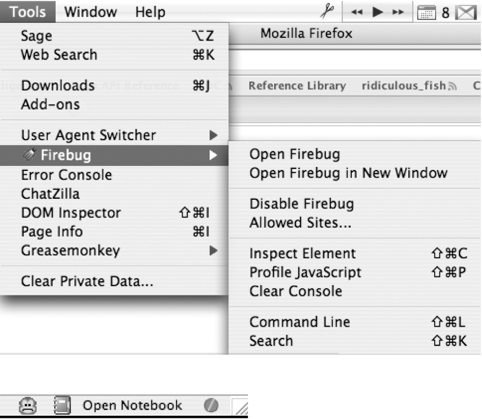 Left: once Firebug is installed, an item appears in the Tools menu and presents you with a few standard options; right: in addition to the Tools menu item, an icon appears in the bottom-right corner of the browser window