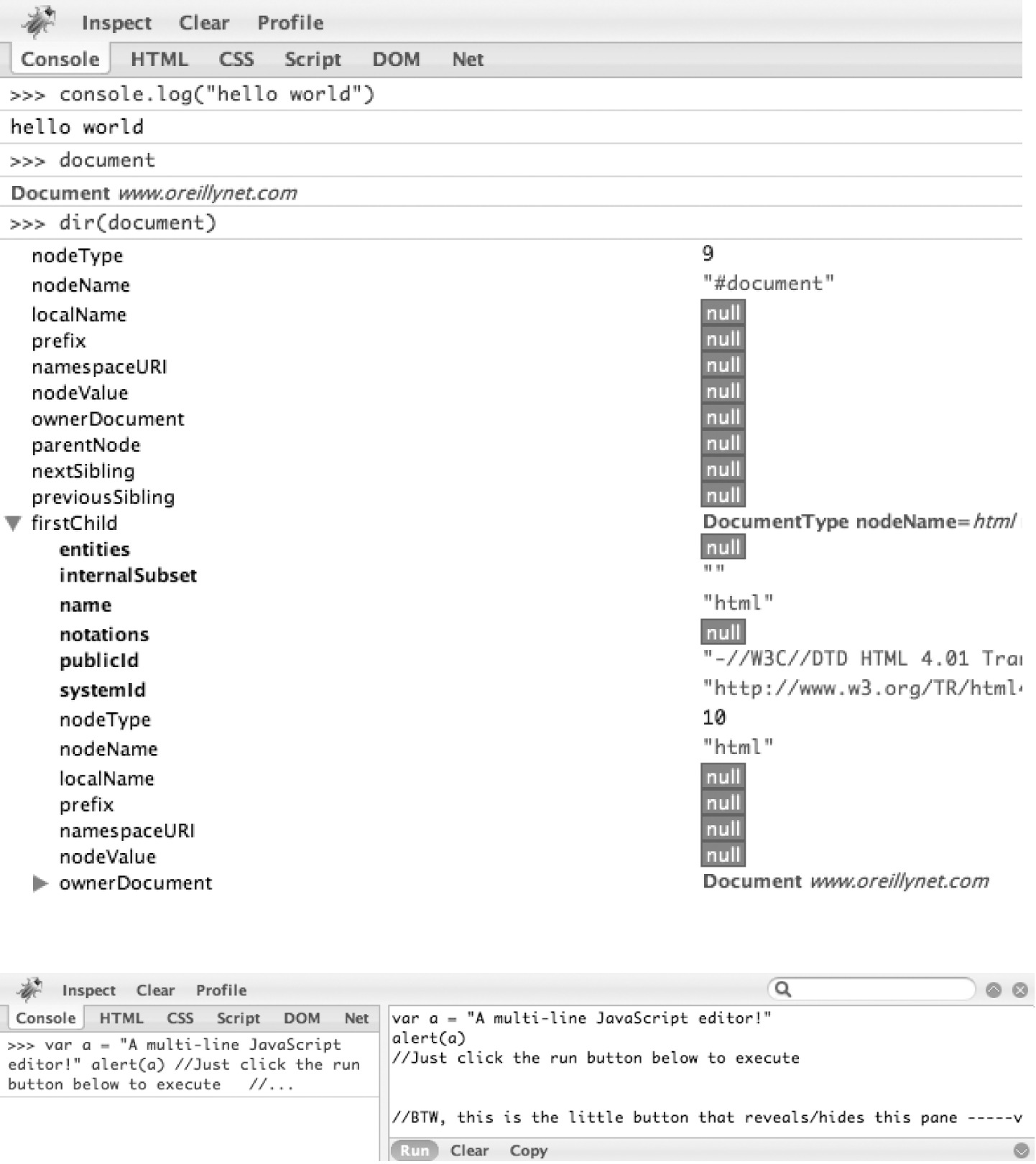Left: the console is your scripting interface into any web page; right: clicking the subtle button that looks like a ^ on the far right of the console prompt reveals a multiline JavaScript editor